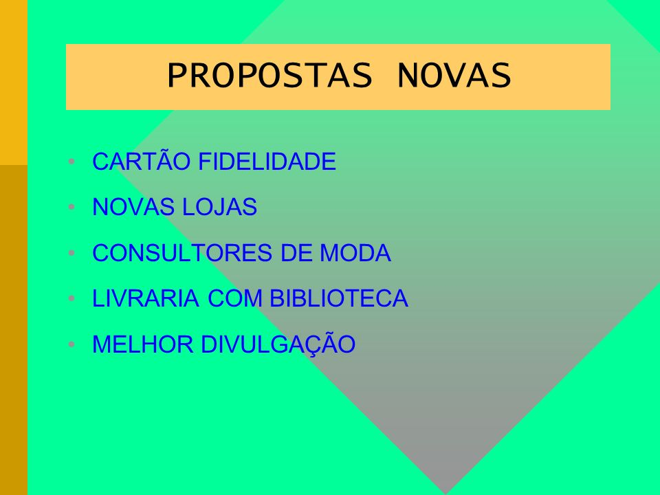 PROPOSTAS NOVAS CARTÃO FIDELIDADE NOVAS LOJAS CONSULTORES DE MODA
