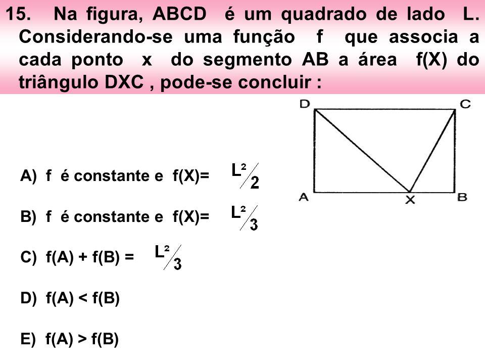 15. Na figura, ABCD é um quadrado de lado L