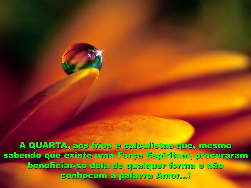 A QUARTA, aos frios e calculistas que, mesmo sabendo que existe uma Força Espiritual, procuraram beneficiar-se dela de qualquer forma e não conhecem a palavra Amor...!