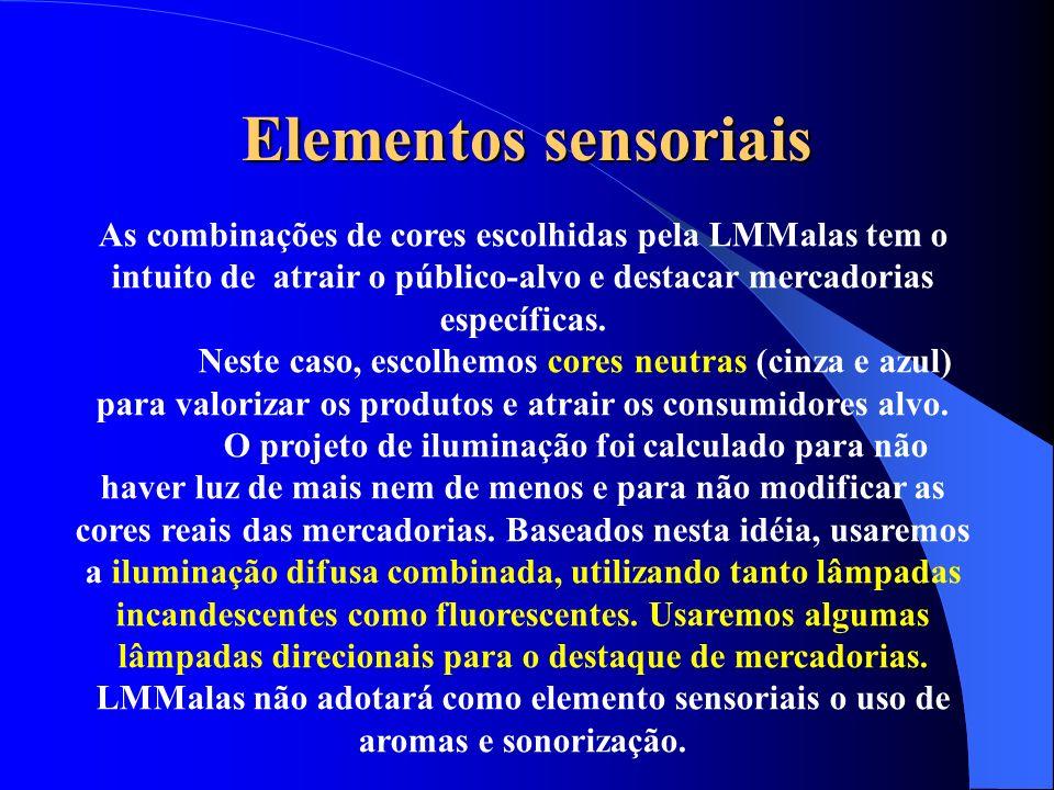 Elementos sensoriais As combinações de cores escolhidas pela LMMalas tem o intuito de atrair o público-alvo e destacar mercadorias específicas.