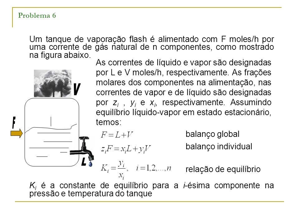 Problema 6 Um tanque de vaporação flash é alimentado com F moles/h por uma corrente de gás natural de n componentes, como mostrado na figura abaixo.