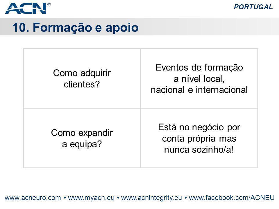 ® PORTUGAL. 10. Formação e apoio. Como adquirir clientes Eventos de formação a nível local, nacional e internacional.