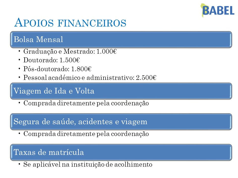 Apoios financeiros Bolsa Mensal Viagem de Ida e Volta