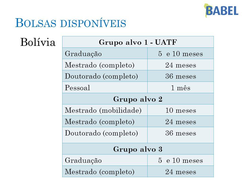 Bolsas disponíveis Bolívia Grupo alvo 1 - UATF Graduação 5 e 10 meses