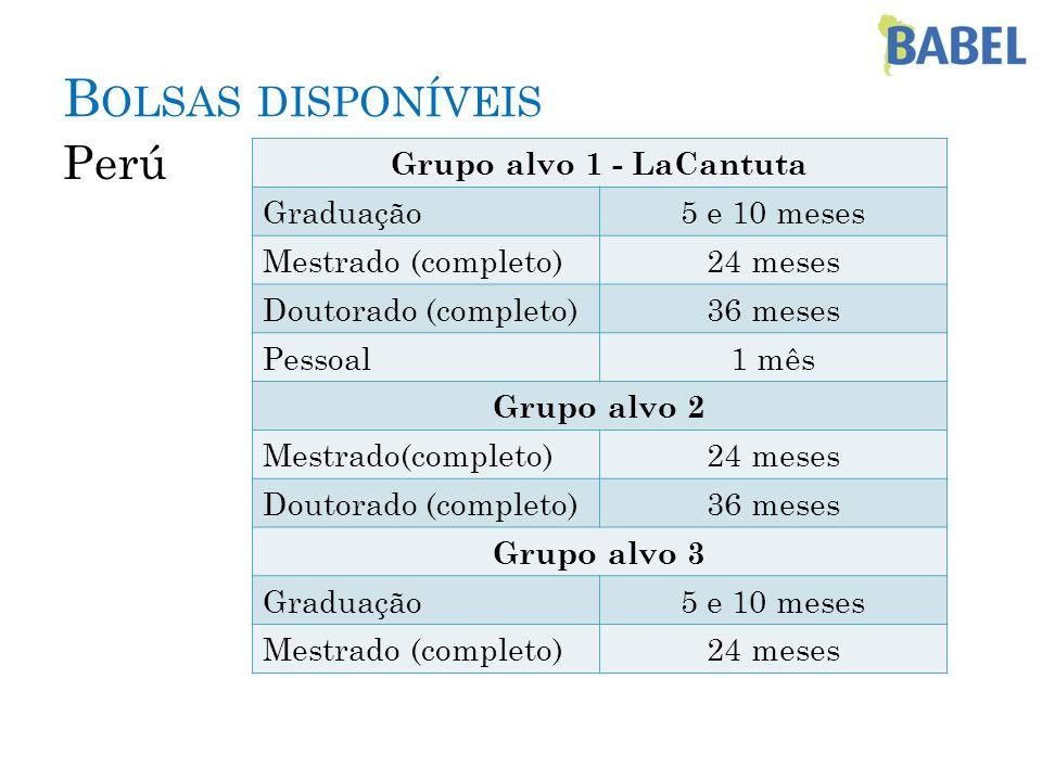 Bolsas disponíveis Perú Grupo alvo 1 - LaCantuta Graduação