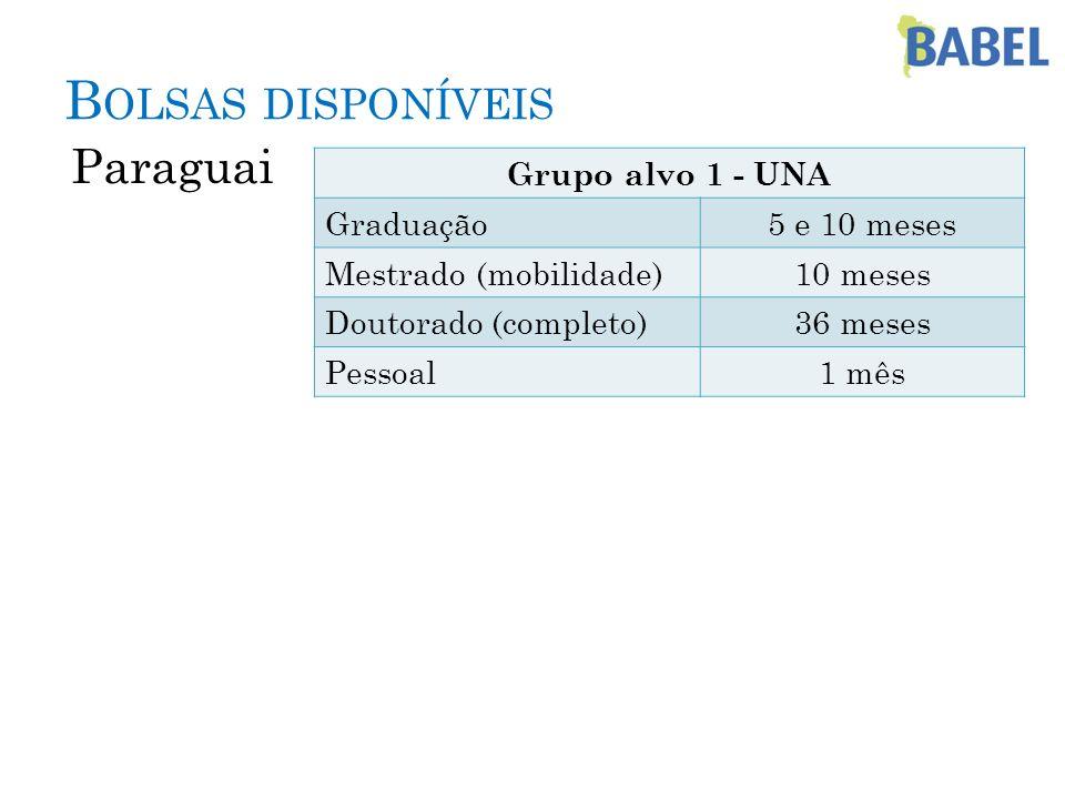 Bolsas disponíveis Paraguai Grupo alvo 1 - UNA Graduação 5 e 10 meses