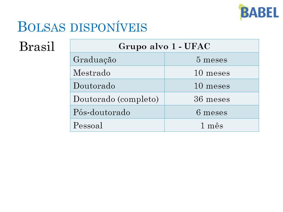 Bolsas disponíveis Brasil Grupo alvo 1 - UFAC Graduação 5 meses