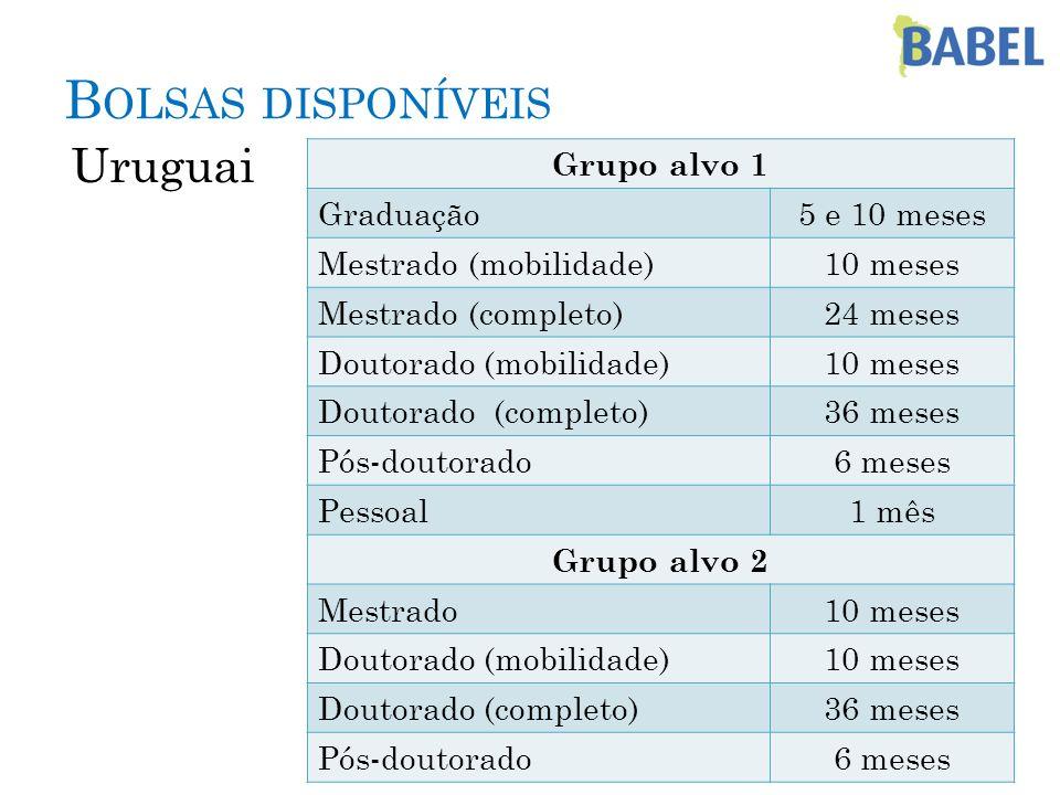 Bolsas disponíveis Uruguai Grupo alvo 1 Graduação 5 e 10 meses