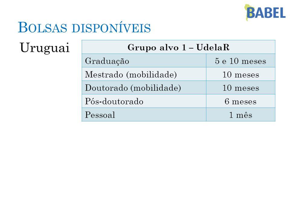 Bolsas disponíveis Uruguai Grupo alvo 1 – UdelaR Graduação
