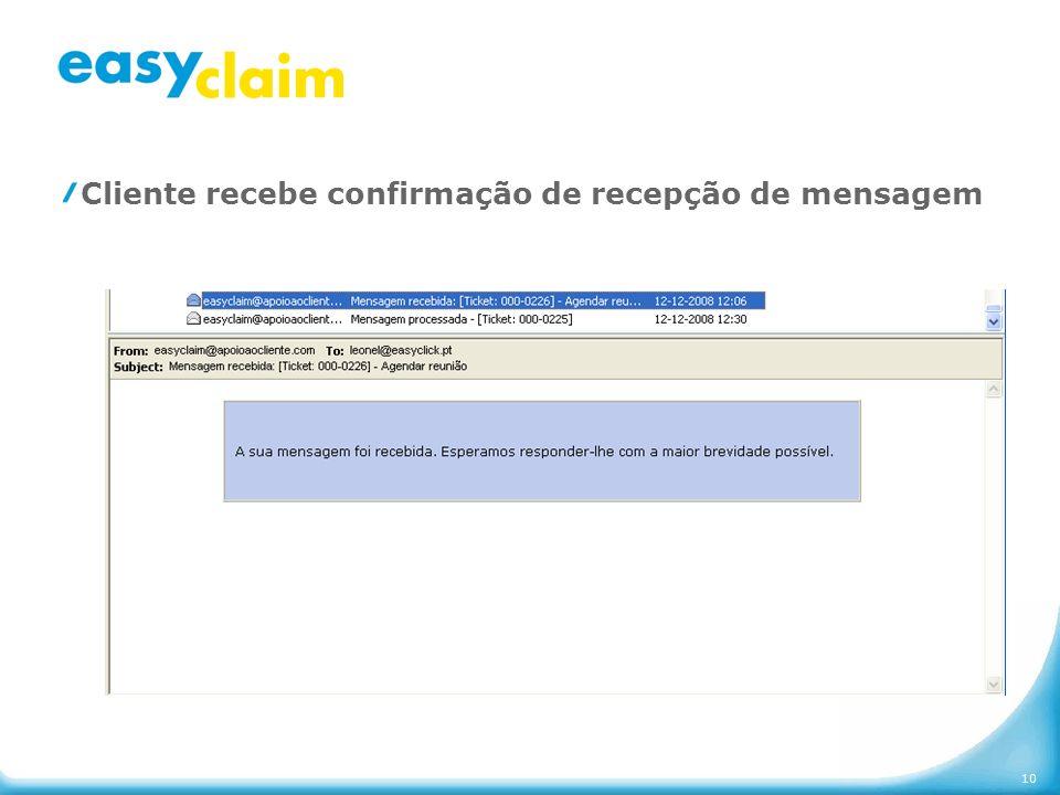 Cliente recebe confirmação de recepção de mensagem