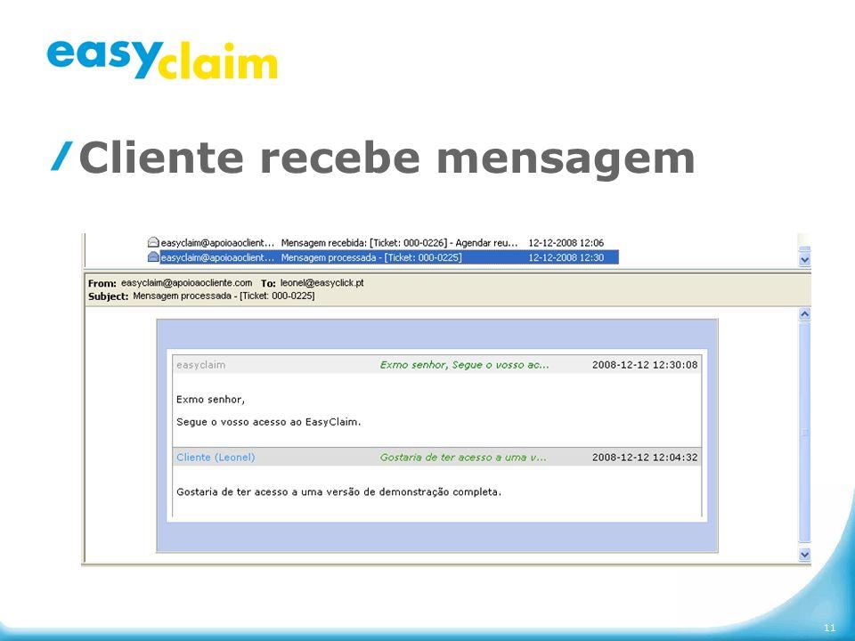 Cliente recebe mensagem