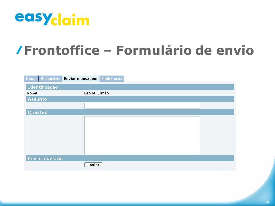 Frontoffice – Formulário de envio