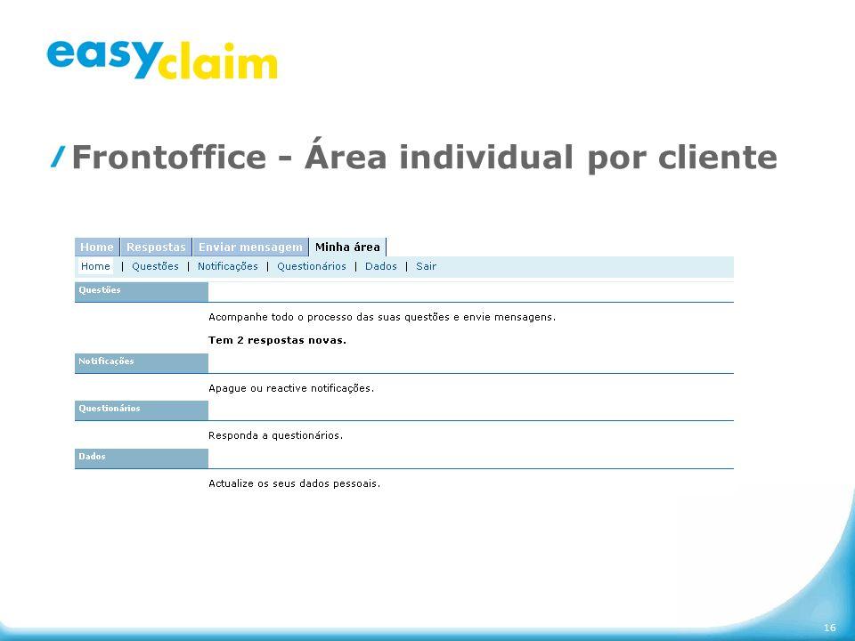 Frontoffice - Área individual por cliente