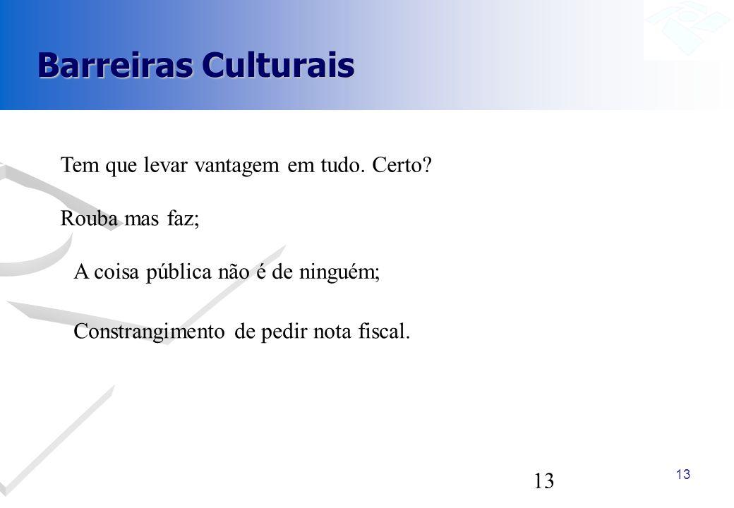 Barreiras Culturais Tem que levar vantagem em tudo. Certo