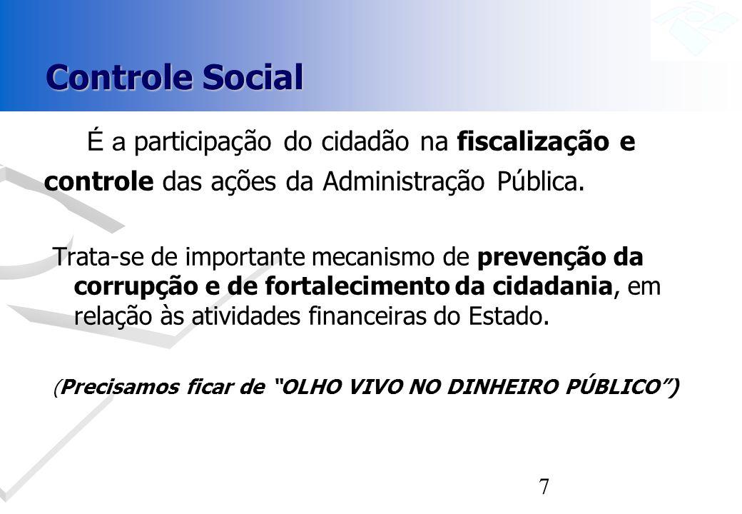 Controle Social É a participação do cidadão na fiscalização e controle das ações da Administração Pública.