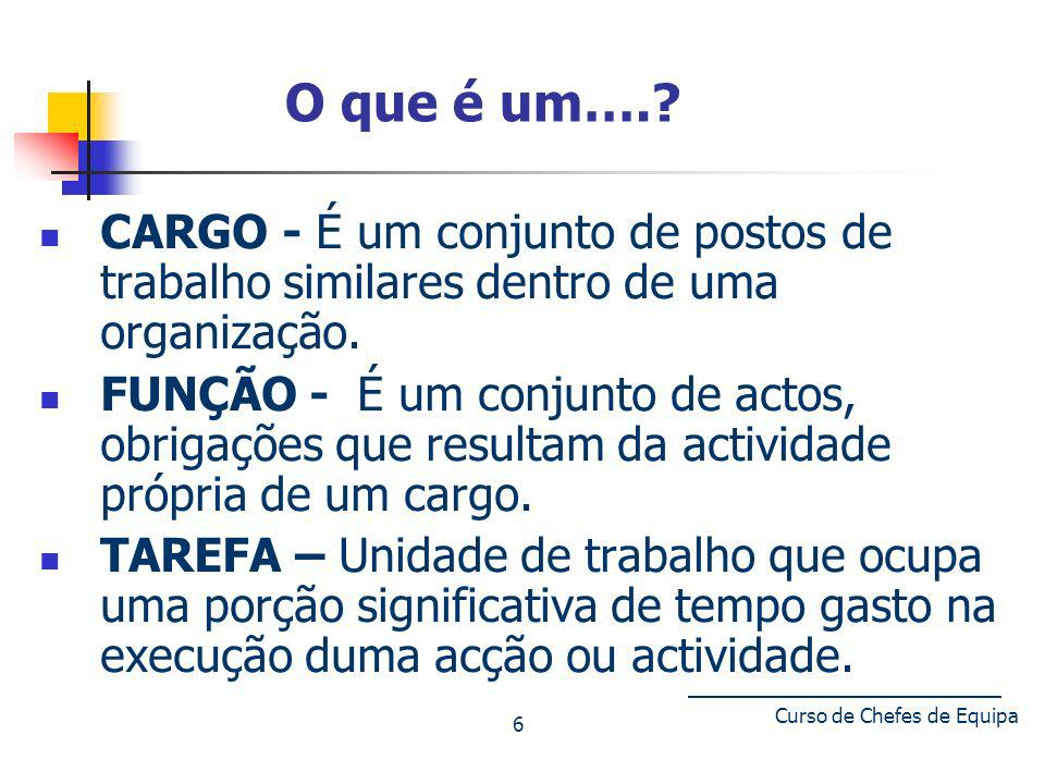 ESTRUTURA DE UM CARGO Diagrama Escalar ou Organograma Ocupacional