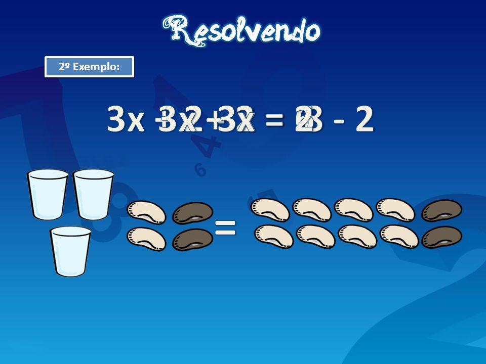 2º Exemplo: 3x + 2 - 2 = 8 - 2 3x + 2 = 8 3x = 6 x = 2 =