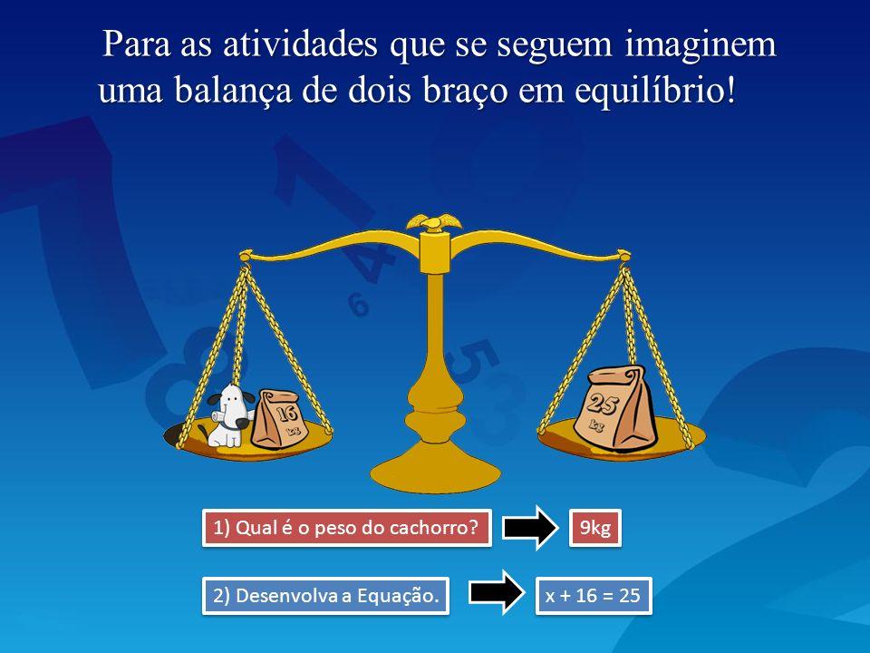 Para as atividades que se seguem imaginem uma balança de dois braço em equilíbrio!