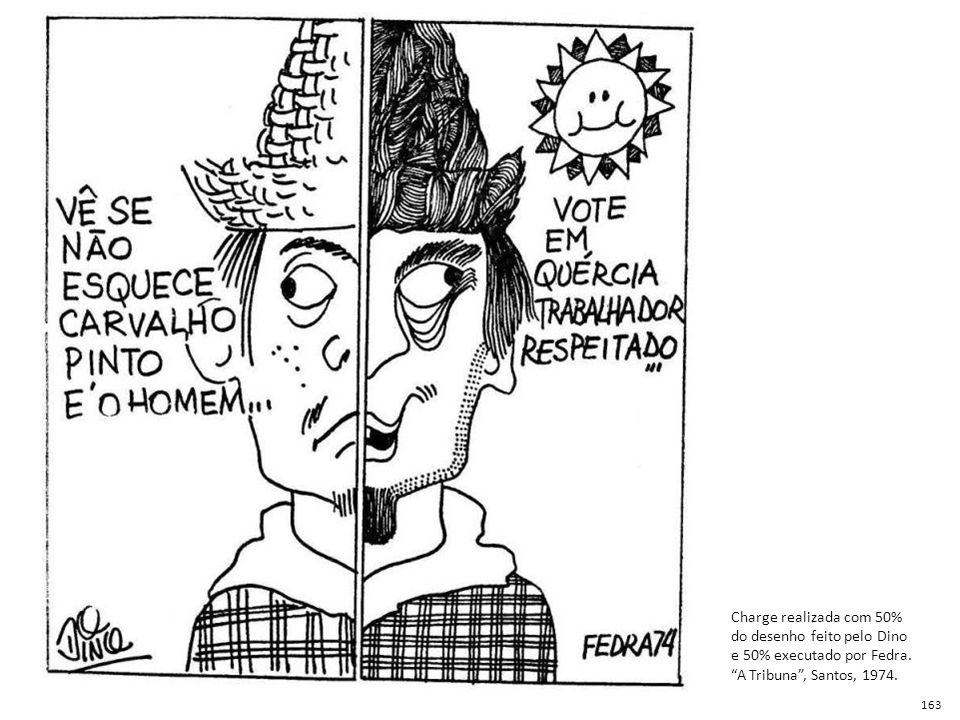 Charge realizada com 50% do desenho feito pelo Dino e 50% executado por Fedra. A Tribuna , Santos, 1974.