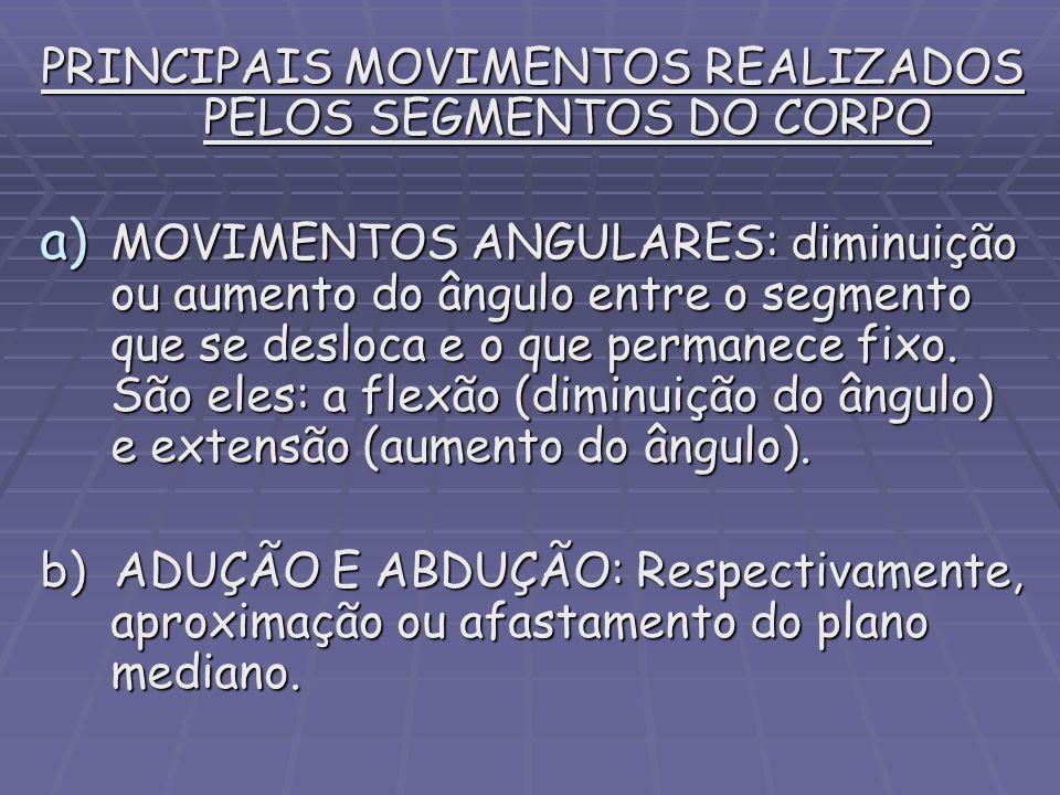 PRINCIPAIS MOVIMENTOS REALIZADOS PELOS SEGMENTOS DO CORPO