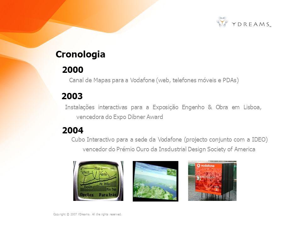Cronologia 2000. Canal de Mapas para a Vodafone (web, telefones móveis e PDAs) 2003.