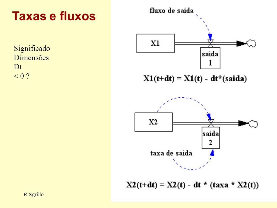 Taxas e fluxos Significado Dimensões Dt < 0 R.Sgrillo