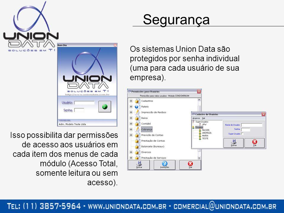 Segurança Os sistemas Union Data são protegidos por senha individual (uma para cada usuário de sua empresa).