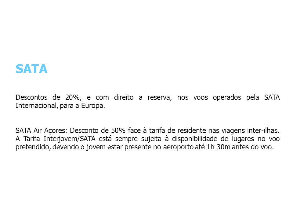 SATA Descontos de 20%, e com direito a reserva, nos voos operados pela SATA Internacional, para a Europa.