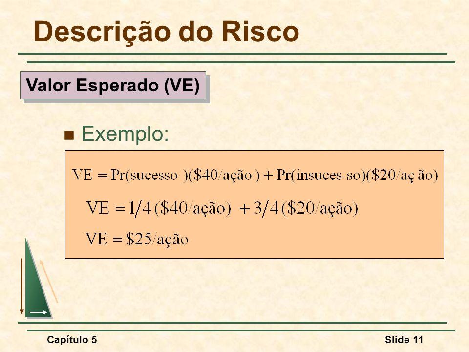 Descrição do Risco Valor Esperado (VE) Exemplo: Capítulo 5 10