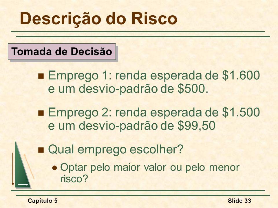 Descrição do Risco Tomada de Decisão. Emprego 1: renda esperada de $1.600 e um desvio-padrão de $500.