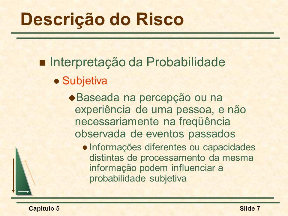 Descrição do Risco Interpretação da Probabilidade Subjetiva
