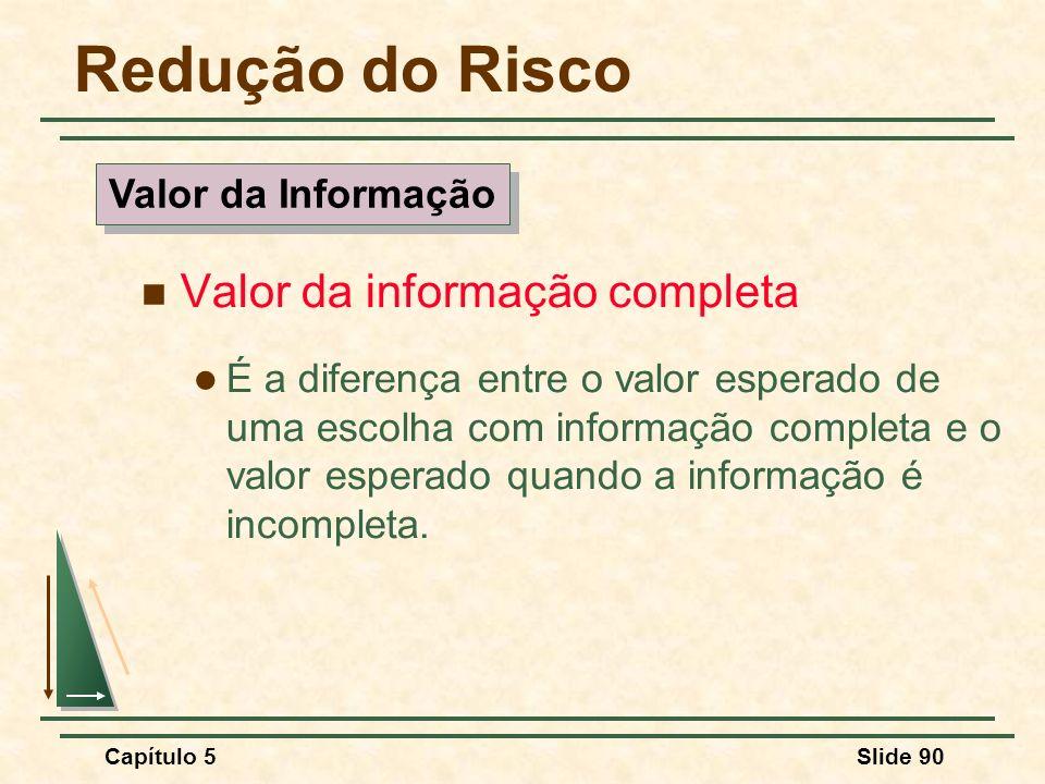 Redução do Risco Valor da informação completa Valor da Informação