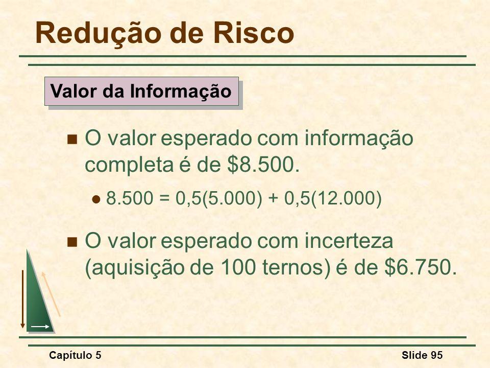 Redução de Risco O valor esperado com informação completa é de $8.500.