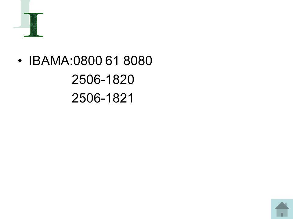 I IBAMA:0800 61 8080 2506-1820 2506-1821