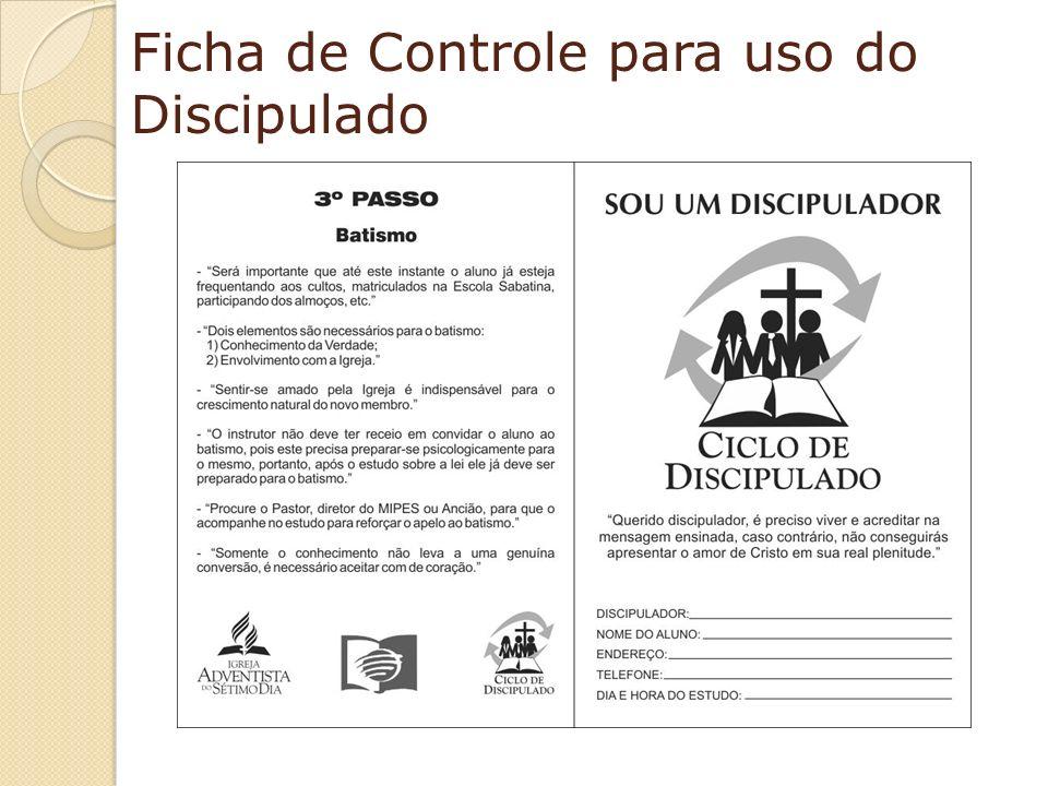 Ficha de Controle para uso do Discipulado