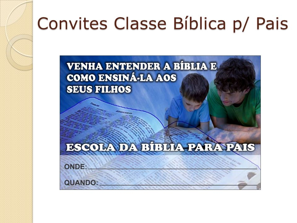 Convites Classe Bíblica p/ Pais