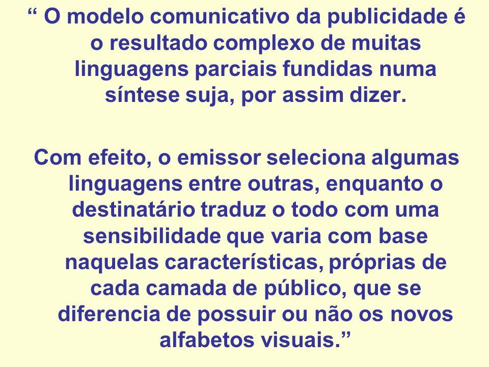O modelo comunicativo da publicidade é o resultado complexo de muitas linguagens parciais fundidas numa síntese suja, por assim dizer.