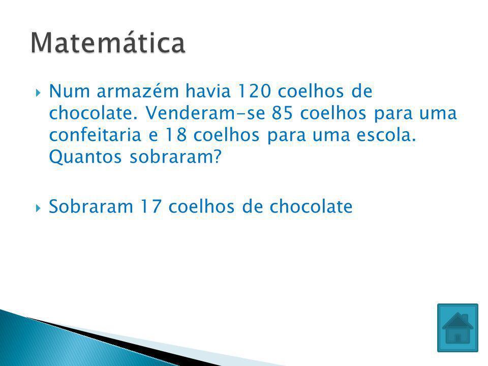 Matemática Num armazém havia 120 coelhos de chocolate. Venderam-se 85 coelhos para uma confeitaria e 18 coelhos para uma escola. Quantos sobraram