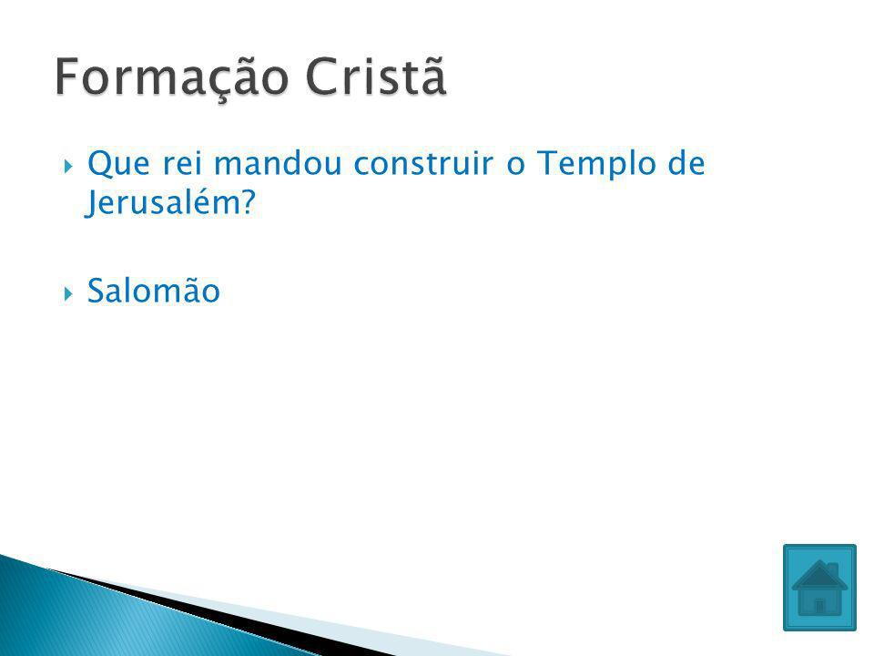 Formação Cristã Que rei mandou construir o Templo de Jerusalém