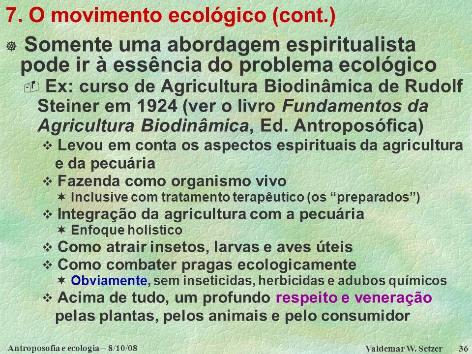 7. O movimento ecológico (cont.)