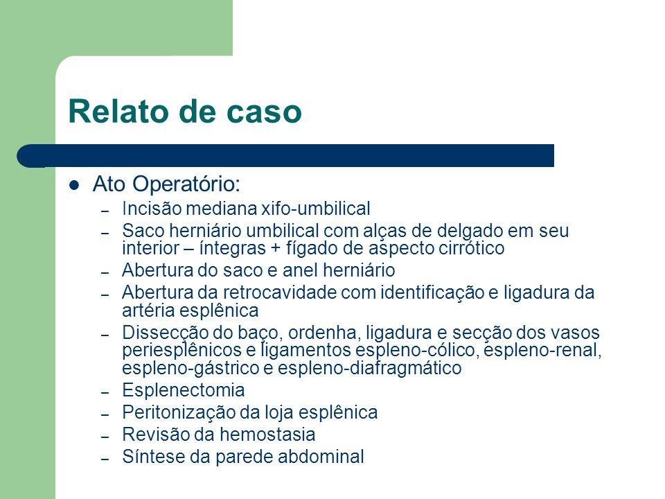 Relato de caso Ato Operatório: Incisão mediana xifo-umbilical