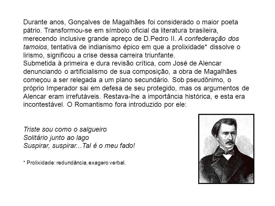 Durante anos, Gonçalves de Magalhães foi considerado o maior poeta pátrio. Transformou-se em símbolo oficial da literatura brasileira, merecendo inclusive grande apreço de D.Pedro II. A confederação dos tamoios, tentativa de indianismo épico em que a prolixidade* dissolve o lirismo, significou a crise dessa carreira triunfante.