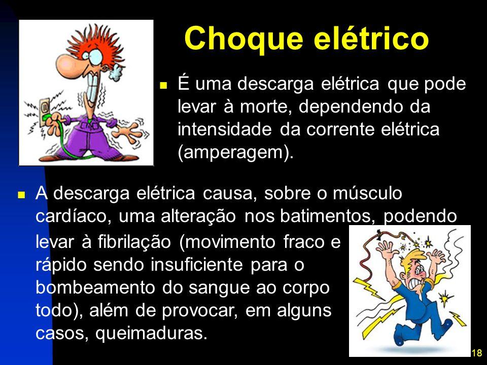 Choque elétrico É uma descarga elétrica que pode levar à morte, dependendo da intensidade da corrente elétrica (amperagem).