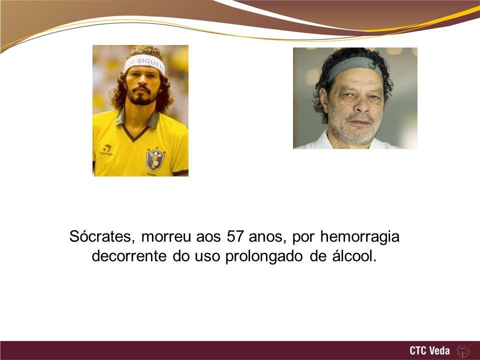 Sócrates, morreu aos 57 anos, por hemorragia decorrente do uso prolongado de álcool.
