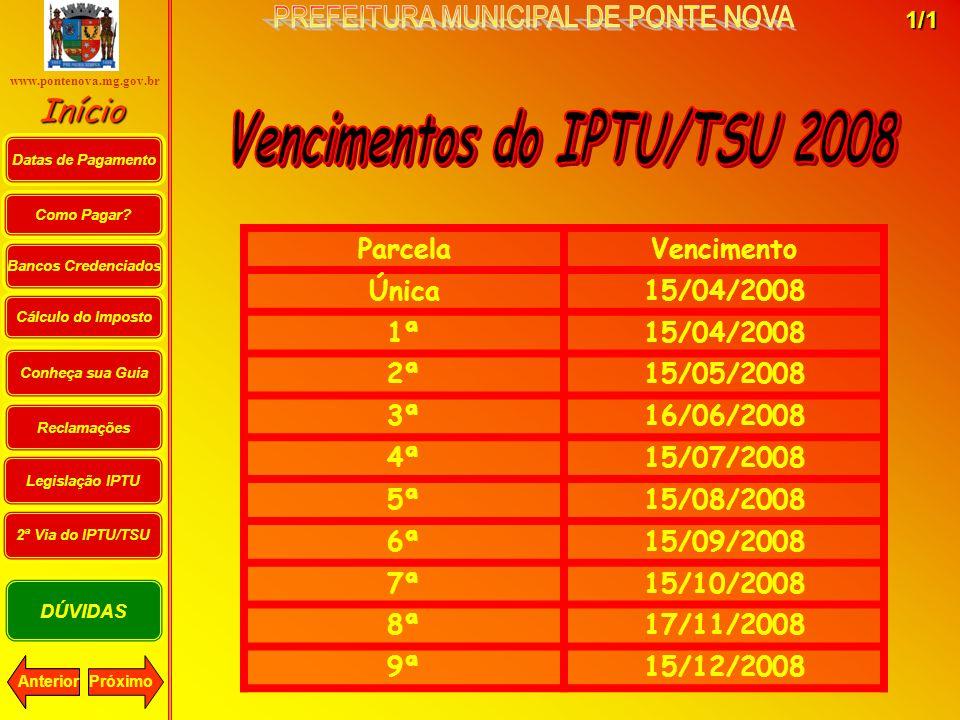 Vencimentos do IPTU/TSU 2008