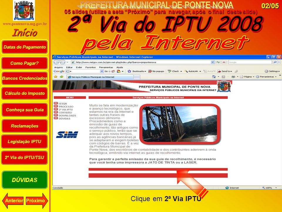 2ª Via do IPTU 2008 pela Internet