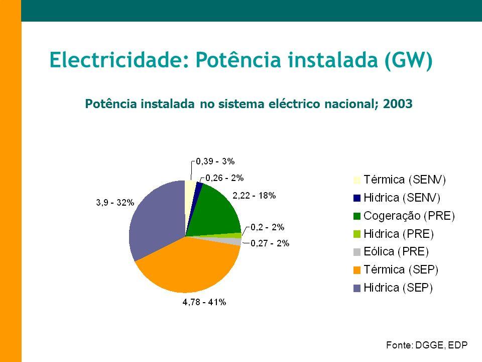 Electricidade: Potência instalada (GW)