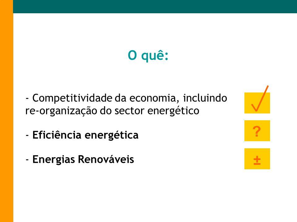 O quê:- Competitividade da economia, incluindo re-organização do sector energético. Eficiência energética.