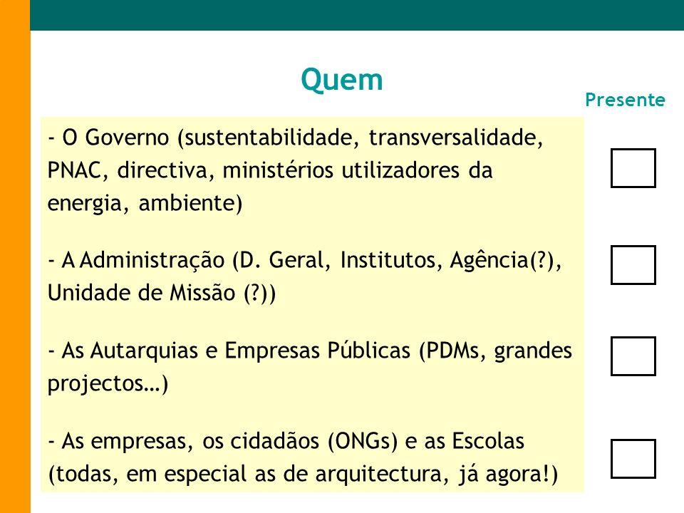 Quem Presente. - O Governo (sustentabilidade, transversalidade, PNAC, directiva, ministérios utilizadores da energia, ambiente)
