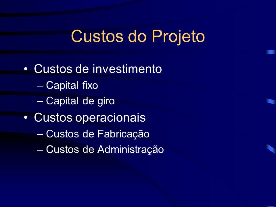 Custos do Projeto Custos de investimento Custos operacionais